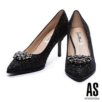 高跟鞋 AS 優雅甜美鑽飾設計尖頭高跟鞋-黑