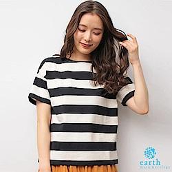earth music 素面/橫條紋基本款船型領棉質短袖上衣