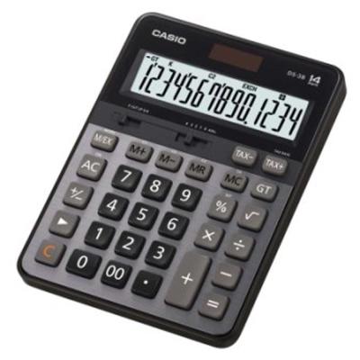CASIO卡西歐14位元大螢幕顯示商用桌上型計算機-DS-3B(黑/灰)