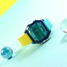 I AM 電子液晶 繽紛色彩 錶帶自由搭配 矽膠手錶-藍x深藍x淺灰/38mm