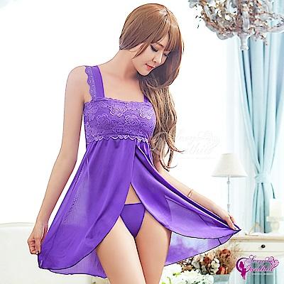 Sexy Cynthia性感睡衣 浪漫紫色蕾絲柔緞開襟二件式睡衣-紫F