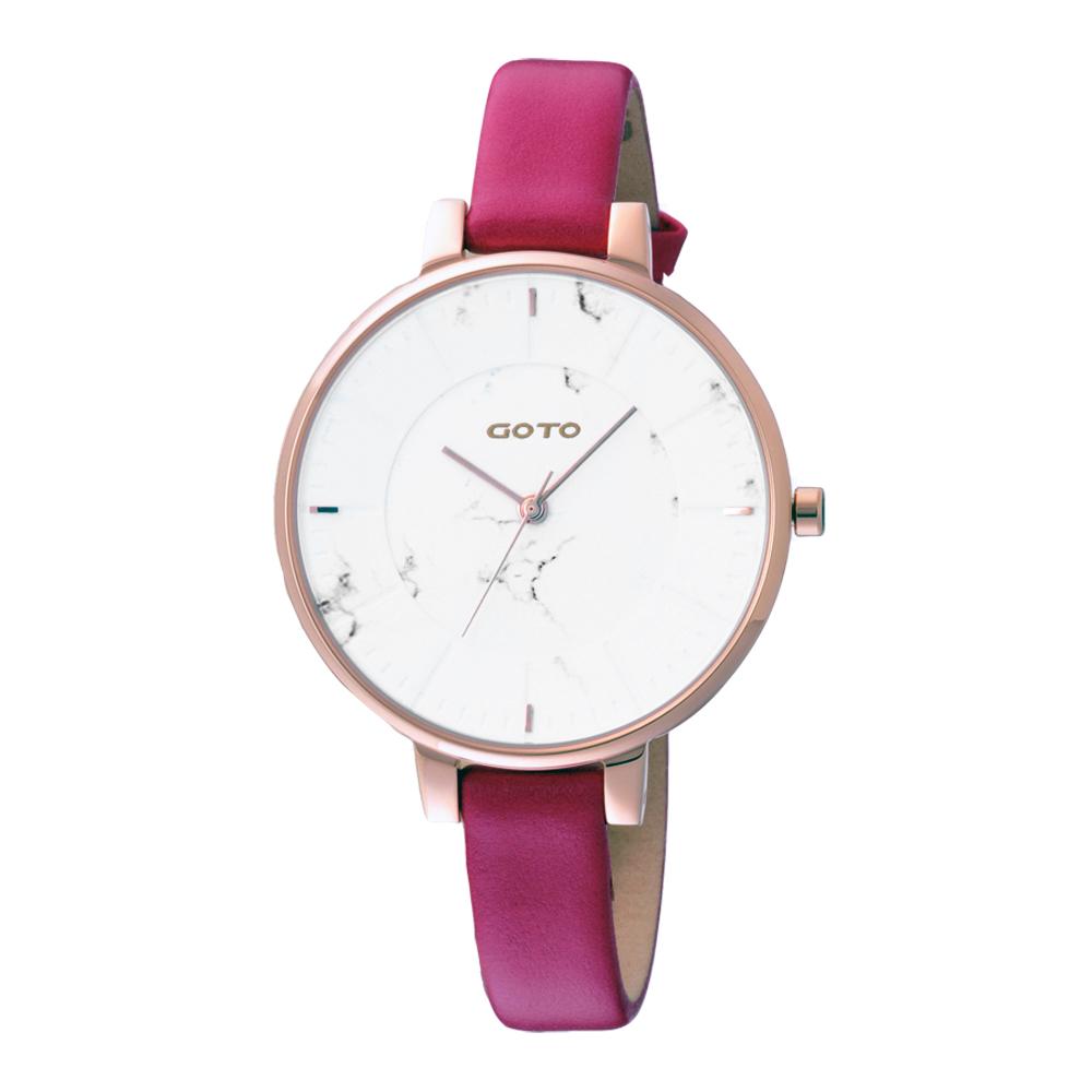 GOTO 都市時尚大理石圖樣腕錶-桃粉(GL5040L-4R-241)/36mm