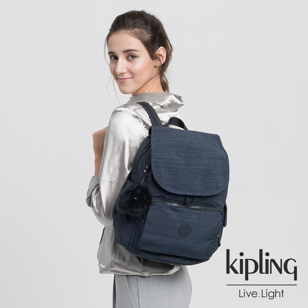 Kipling 深藍素面拉鍊掀蓋後背包-CITY PACK