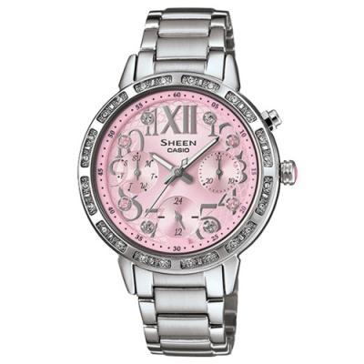 CASIO SHEEN 盛夏閃耀三眼淑女水鑽腕錶-淡粉紅X銀-SHE-3036D-4AUDR-33mm