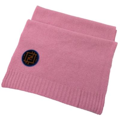 FENDI 經典LOGO裝飾針織羊毛圍巾(粉)