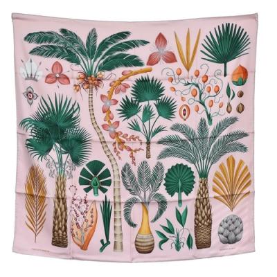 HERMES 經典INDEX PALMARUM系列椰子樹圖騰絲質方巾/披巾(淡粉)