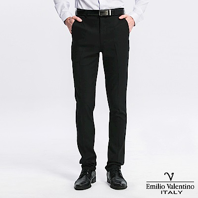 范倫提諾修身彈性平面西褲-黑