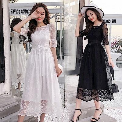 DABI 韓國風名媛氣質修身蕾絲長裙短袖洋裝