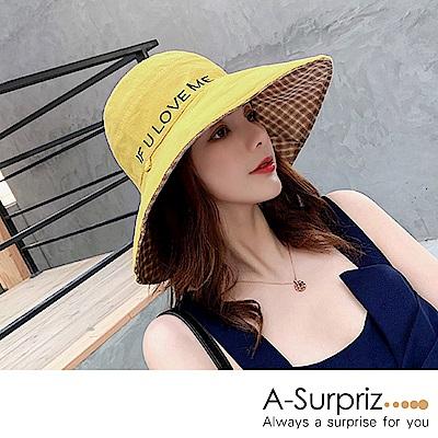 A-Surpriz 英字雙面遮陽布帽(黃+格紋)