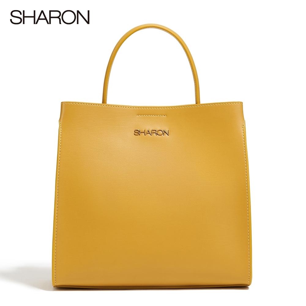 【SHARON 雪恩】頭層牛皮Charlotte自然紋手提方包/肩背包(黃色12202YE)