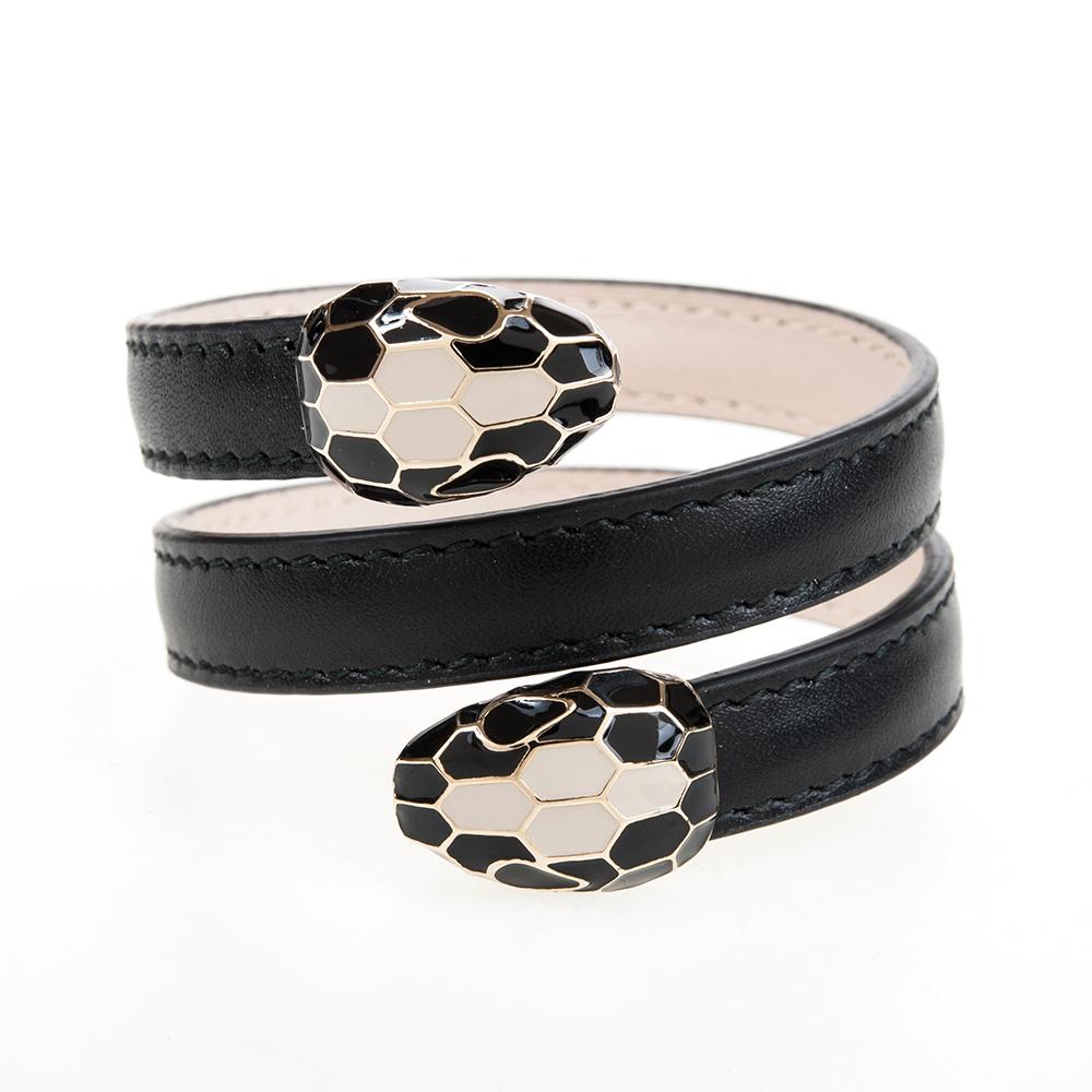 BVLGARI 寶格麗 Serpenti系琺瑯雙蛇頭雙釦環繞式手環 (黑色)