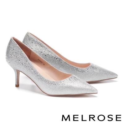 高跟鞋 MELROSE 奢華閃耀漸層晶鑽金蔥布尖頭高跟鞋-銀