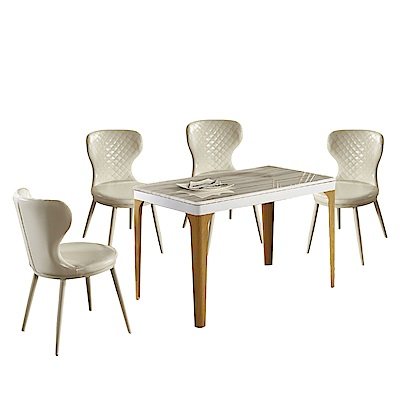 文創集 歌斯威4尺雲紋石面餐桌椅組合(餐桌+米白皮革餐椅四張)-120x70x75cm免組