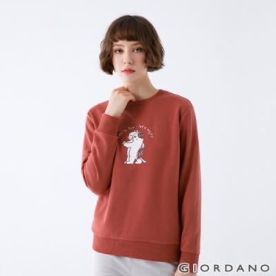 GIORDANO  女裝Stay Home大學T恤 - 11 馬沙拉酒紅