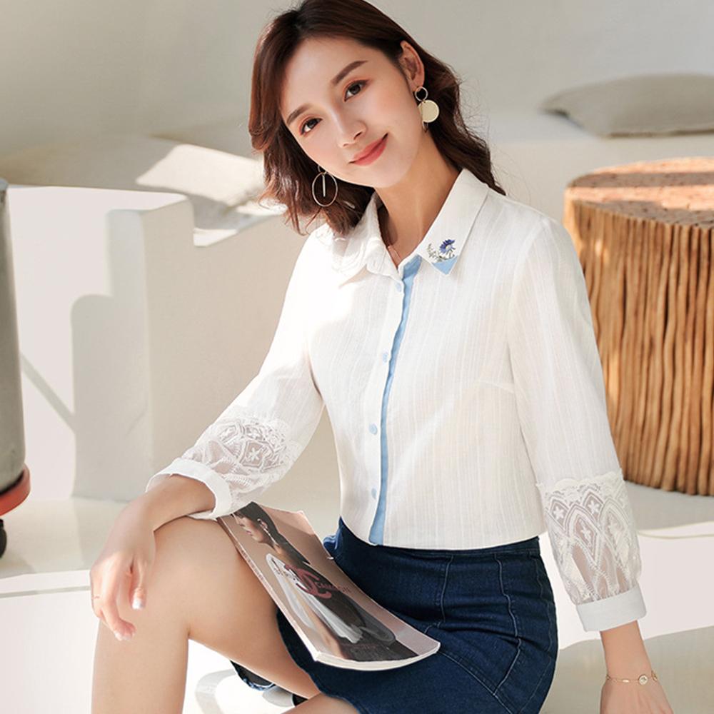 初色  鏤空刺繡純棉襯衫-白色-(M-2XL可選)