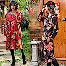 古風花扇寬鬆洋裝(共二色)-維拉森林