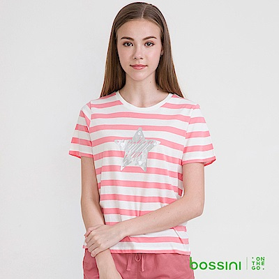 bossini女裝-圓領短袖條紋上衣24珊瑚色