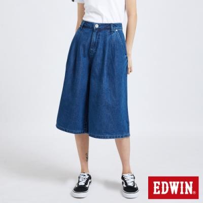 EDWIN MISS 503 休閒舒適 打摺牛仔寬褲-女-酵洗藍