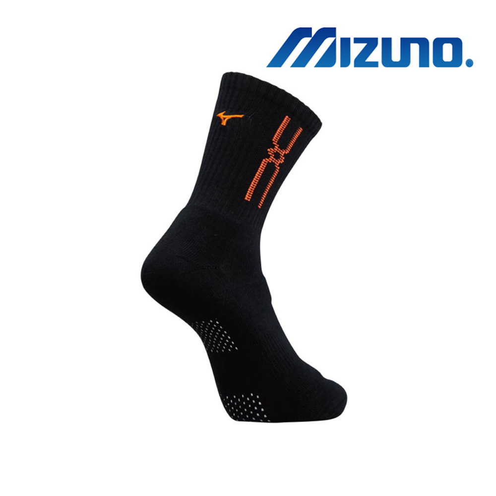 MIZUNO 男運動厚底襪(加大尺寸) 5入 黑X橘 32TX900954
