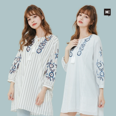 [時時樂]H:CONNECT 韓國品牌 女裝-民族風繡花綁帶洋裝-兩色
