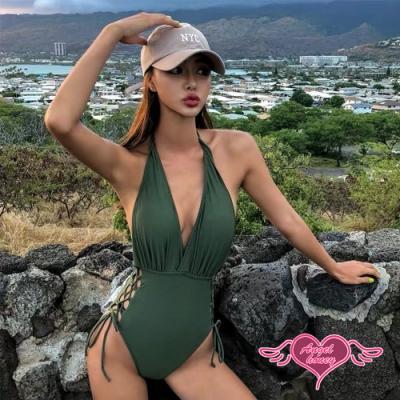 泳衣 沉靜風韻 性感一件式連身泳裝(綠M~XL) AngelHoney天使霓裳