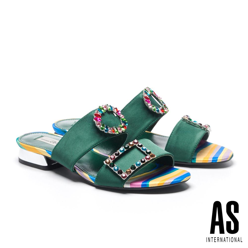 拖鞋 AS 繽紛彩鑽釦飾緞布低跟拖鞋-綠