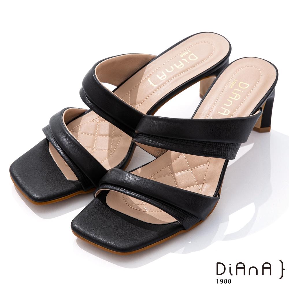 DIANA 6.7cm 質感俐落羊皮方頭涼跟鞋-夏日風情-黑