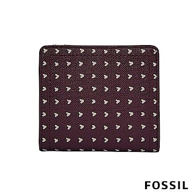 FOSSIL LOGAN 防潑水系列拉鍊零錢袋設計短夾-愛心