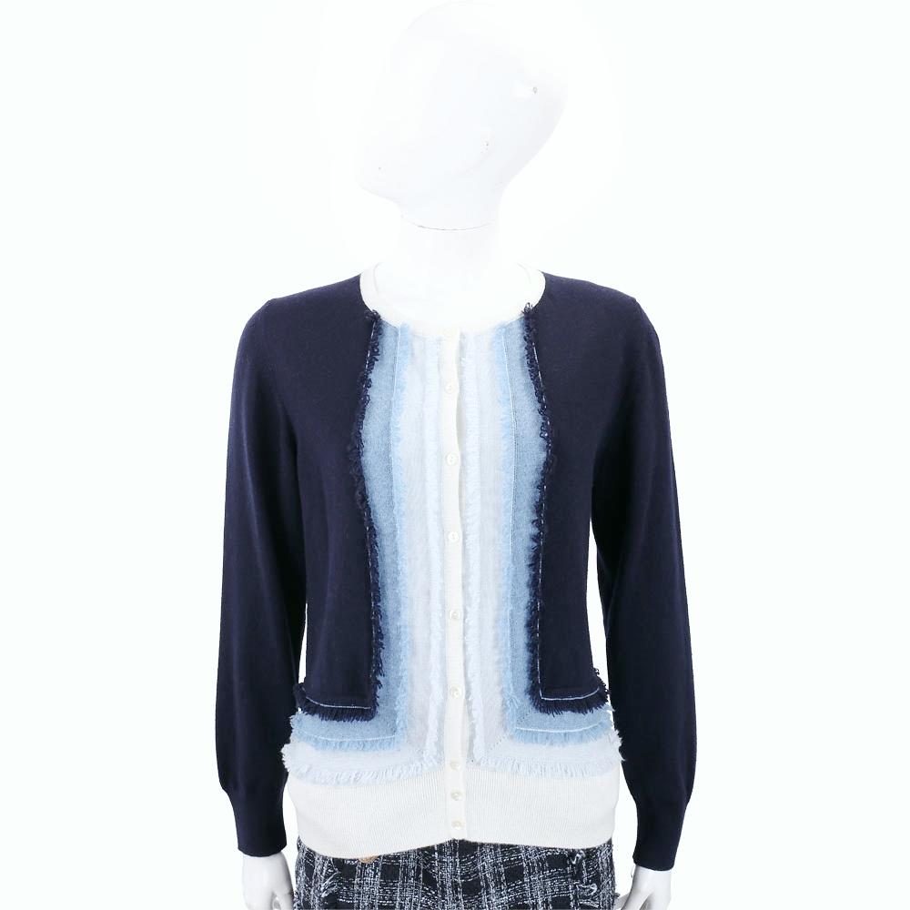 Andre Maurice 喀什米爾漸層深藍不修邊開襟羊毛衫
