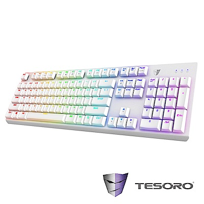 【TESORO鐵修羅】剋龍劍Gram RGB機械式鍵盤--紅軸中文|白