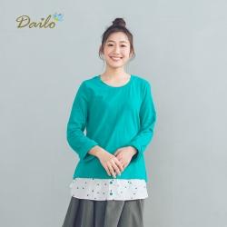 【Dailo】MIT製 假兩件式-上衣(二色)