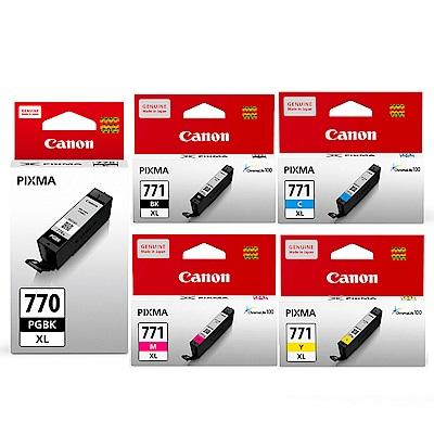 CANON PGI-770XL-BK+CLI-771XL-BK/C/M/Y 原廠墨水組合