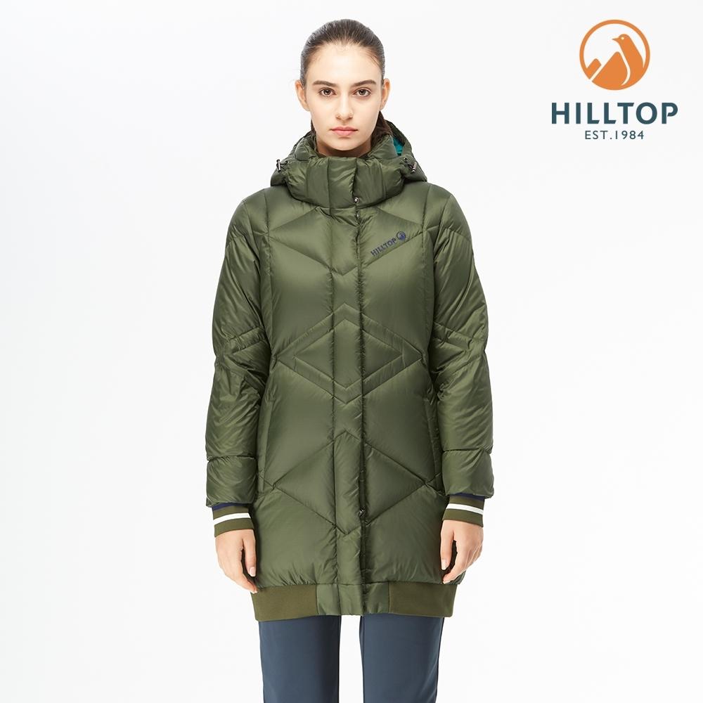 【hilltop山頂鳥】女款超撥水長版蓄熱羽絨外套F24FE7森林黑夜