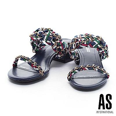 拖鞋 AS 法式優雅金屬鍊方格布平行繫帶低跟拖鞋-藍