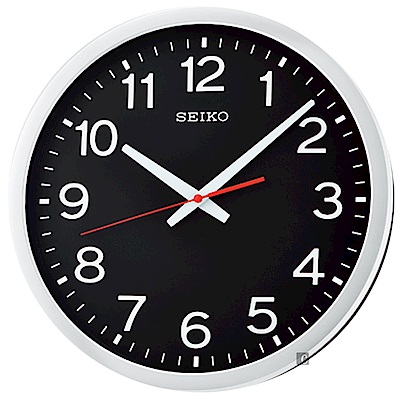 SEIKO 精工 工業風滑動式秒針 靜音掛鐘(QXA732S)-黑/35cm