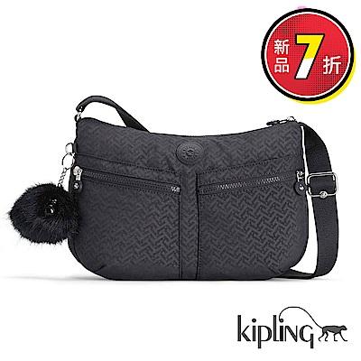 Kipling 斜背包 深藍圖騰素面-大