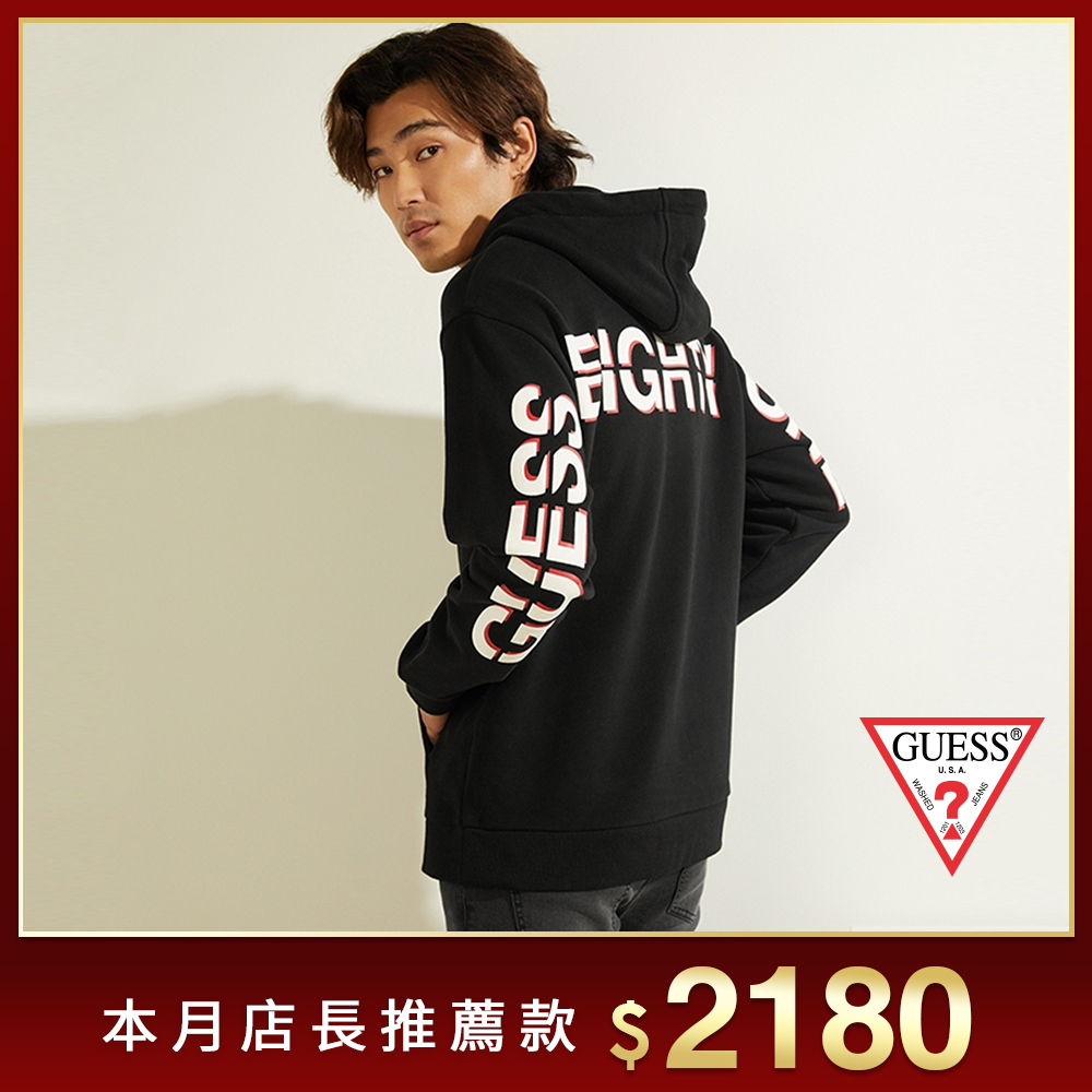 GUESS-男裝-撞色印花文字長袖帽T-黑 原價3790