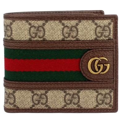 GUCCI Ophidia GG 標誌防水帆布綠紅綠織帶短夾