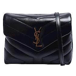 YSL LOULOU系列V字縫線仿舊金色金屬LOGO小牛皮掛腕/肩背/斜背包(小-黑)
