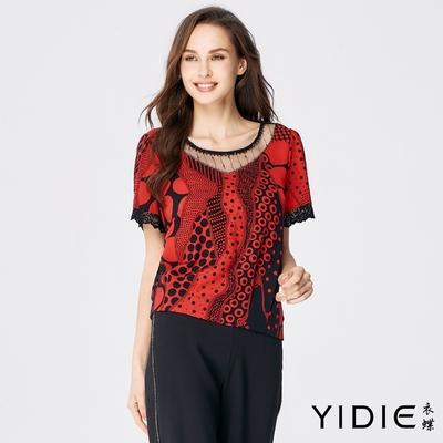 YIDIE衣蝶 黑紅點拼接透膚蕾絲雪紡上衣-紅