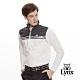 【Lynx Golf】男款異材質拼接反光貼條長袖立領POLO衫-牙白色 product thumbnail 2