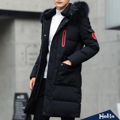 韓版修身加厚保暖防風中长款連帽外套三色-HeHa