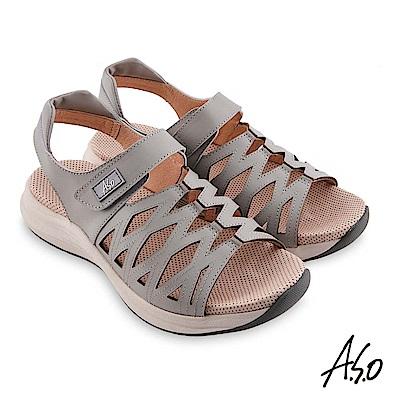 A.S.O機能休閒 輕穩健康牛皮網格休閒涼鞋 淺灰