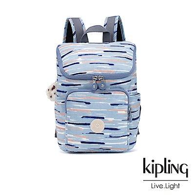 Kipling 柔和藍水彩條紋拉鍊掀蓋後背包-小-BLAKENEY S