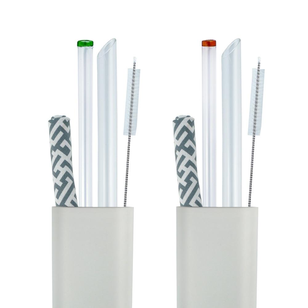 Caldo卡朵生活 小煙囪玻璃吸管5件組(附盒+布)(快)
