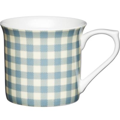《KitchenCraft》單柄骨瓷馬克杯(藍格紋300ml)