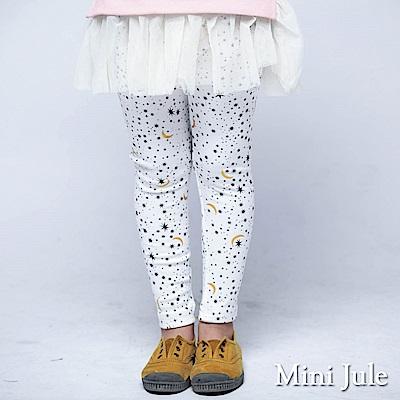 Mini Jule 內搭褲 滿版星星月亮印花彈性內搭長褲(米白)