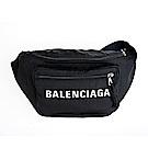 BALENCIAGA 新款英文字母藍色揹帶腰包/胸口包 (黑色)