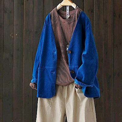 文藝寬鬆燈芯絨外套條絨西裝外搭-設計所在