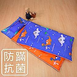 鴻宇 防蟎抗菌 可機洗被胎 兒童冬夏兩用睡袋 美國棉 精梳棉 恐龍公園-藍
